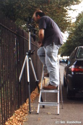 Fig 1 - Standing on a ladder to reach the camera